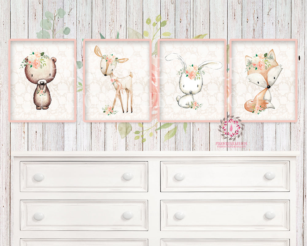 Bunny Rabbit Deer Fox Bear Nursery Wall Art Prints Woodland Boho Bohemian Floral Girls Baby Blush Cream Kids Room Bedroom Decor Print Set Of 4