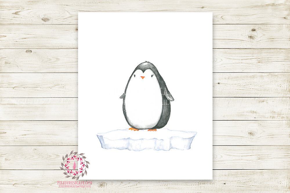 Penguin Wall Art Print Baby Kids Nursery Zoo Animal Watercolor Poster Room Printable Decor