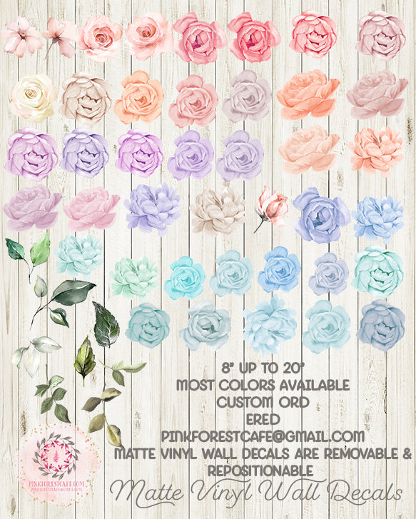 Wall Decal Peony Peonies Rose Floral Blush Ivory Pink Purple Blue Flower Decals Sticker Boho Decor