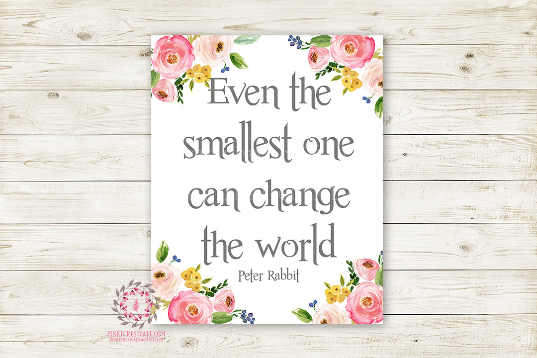 Boho Peter Rabbit Quote Wall Art Print Even The Smallest One Can ...