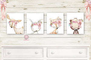 4 Deer Fox Bunny Rabbit Bear Pink Feather Wall Art Print Woodland Boho Balloon Bohemian Nursery Baby Girl Room Set Lot Prints Printable Decor