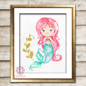 Watercolor Mermaid Nautical Baby Girl Room Printable Wall Art Prints Nursery Decor Pink Gold Print