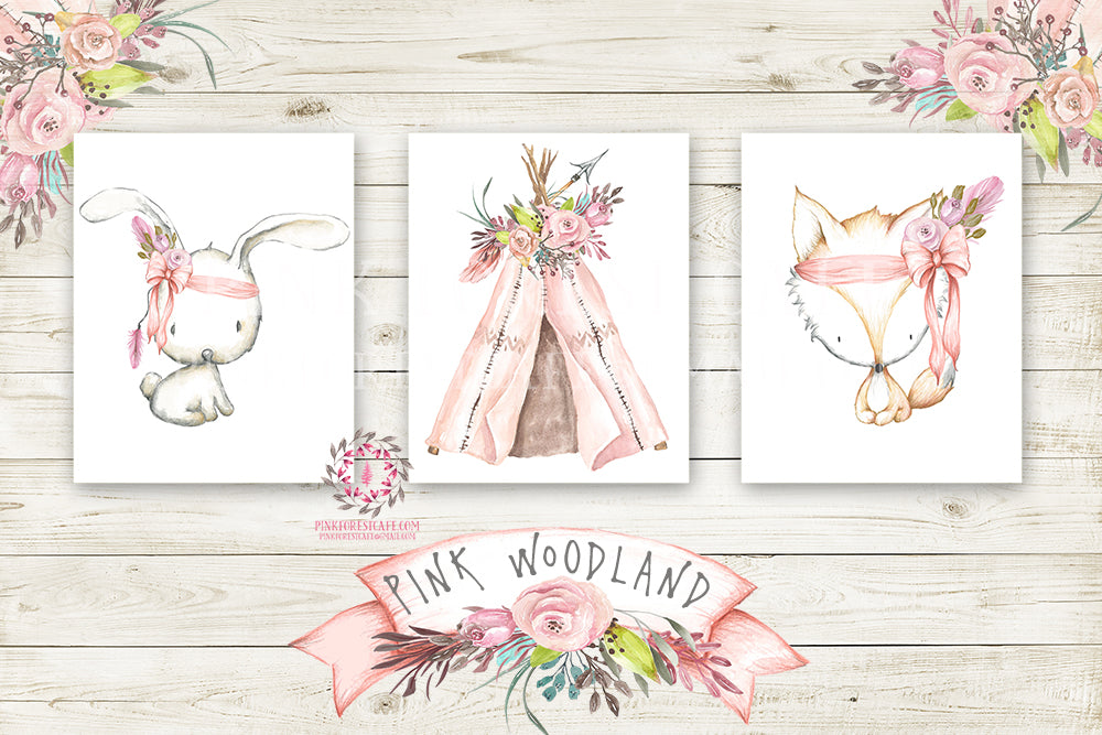Boho Pink Fox Bunny Rabbit Teepee Wall Art Print Woodland Bohemian Floral Nursery Baby Girl Room Arrow Printable Set Of 3 Decor