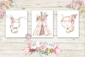 Bunny Rabbit Fox Boho Teepee Wall Art Prints Nursery Pink Tribal Woodland Girl Baby Kids Room Bedroom Decor Print Set Of 3