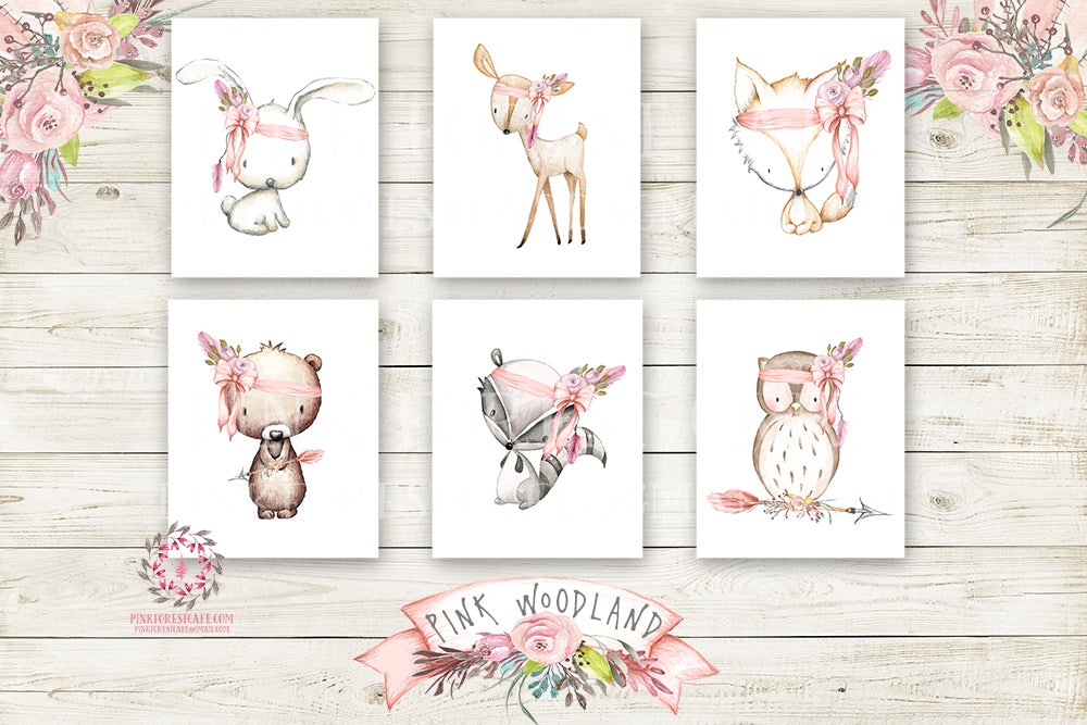 SALE Boho Pink Fox Bunny Rabbit Teepee Wall Art Print Woodland Deer Raccoon Bohemian Floral Nursery Baby Girl Room Bear Owl Arrow Printable Set Of 6 Decor