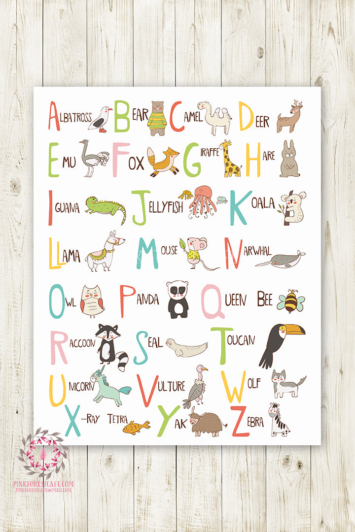 ABC Woodland Sampler Alphabet Baby Nursery Wall Art Print Rustic Printable Scandinavian Decor