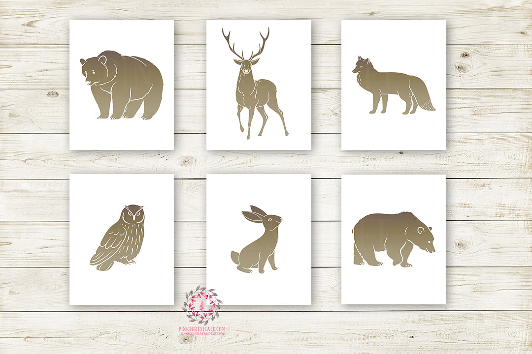 Bear Deer Fox Bunny Owl Woodland Wall Art Print Baby Boy Nursery Rustic Silhouette Rabbit Primitive Tribal Kids Room Lot of 6 Prints Printable Decor