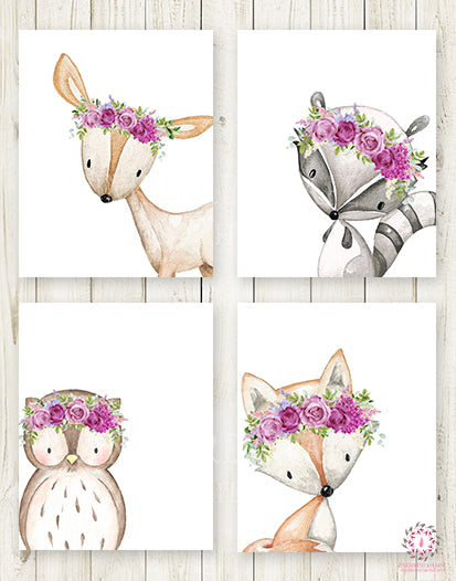 4 Deer Fox Owl Raccoon Boho Wall Art Print Purple Peony Woodland Bohemian Floral Nursery Baby Girl Room Set Lot Prints Printable Decor