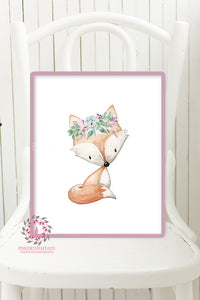 Boho Fox Woodland Nursery Printable Wall Art Print Purple Aqua Floral Baby Girl Room Decor