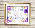 In A Field Of Roses She Is A Wildflower Purple Wall Art Print Gold Baby Girl Boho Watercolor Floral Nursery Printable Decor