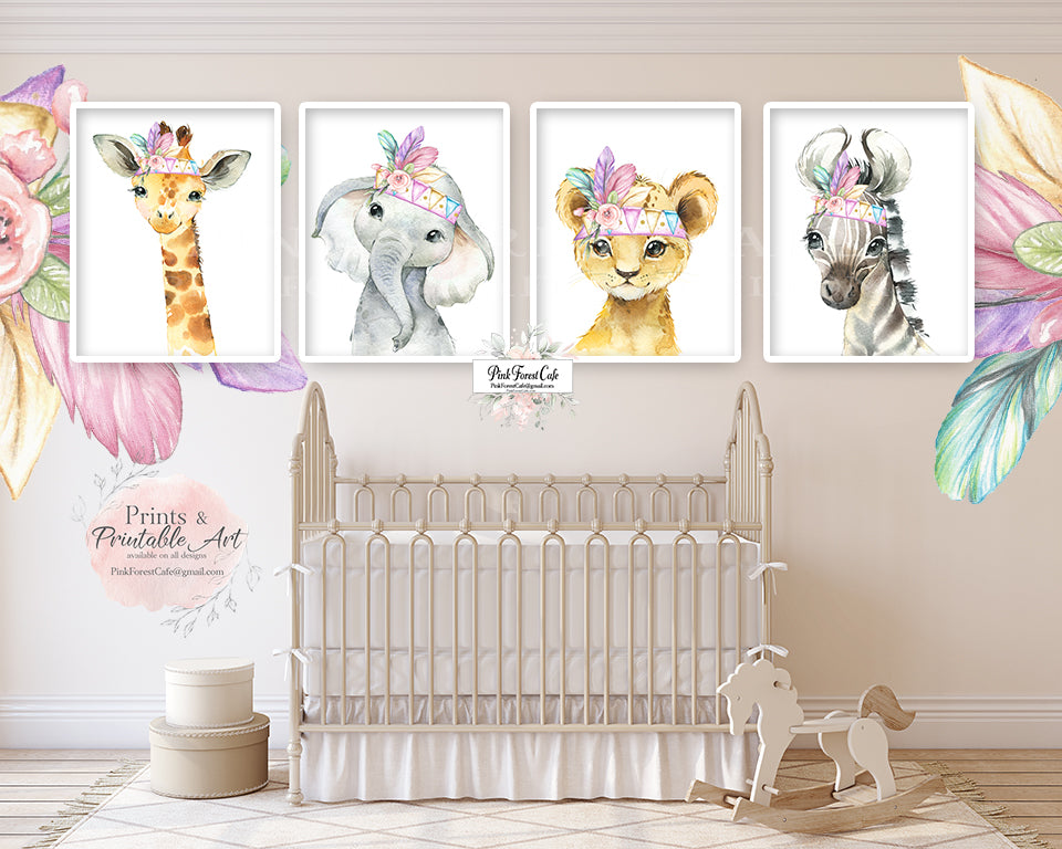 4 Boho Elephant Giraffe Zebra Lion Wall Art Print Feather Nursery Baby Girl Room Rainbow Bohemian Watercolor Printable Decor