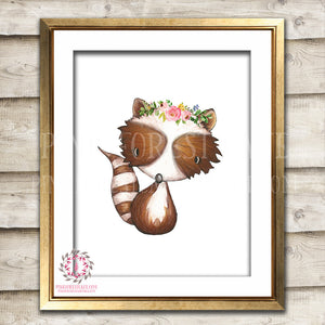 Boho Bohemian Raccoon Woodland Printable Wall Art Print Garden Floral Nursery Baby Girl Room Decor