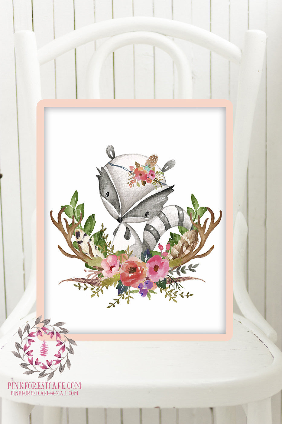 Raccoon Woodland Boho Printable Print Wall Art Baby Nursery Feather Antlers Watercolor Bohemian Floral Girl Room Decor