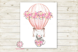 Boho Raccoon Hot Air Balloon Woodland Wall Art Print Floral Tea Party Cup Nursery Baby Girl Shabby Chic Room Printable Bohemian Decor
