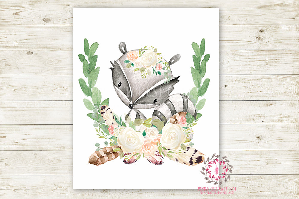 Raccoon Woodland Boho Wall Art Print Blush Feather Baby Girl Nursery Bohemian Floral Girl Room Printable Decor