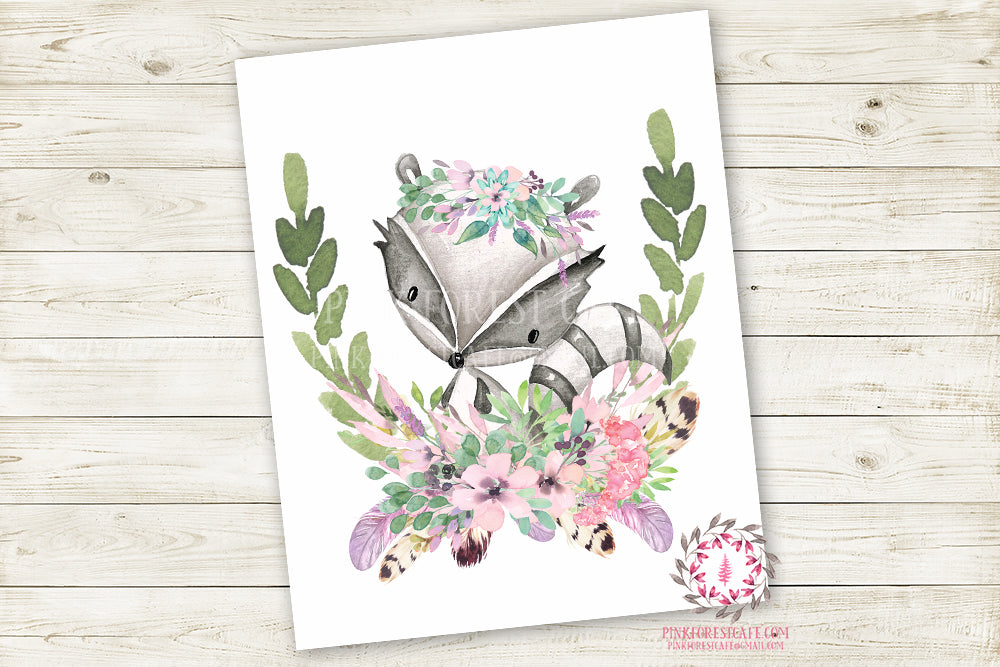 Raccoon Woodland Boho Wall Art Print Purple Mint Feather Baby Girl Nursery Bohemian Floral Girl Room Printable Decor