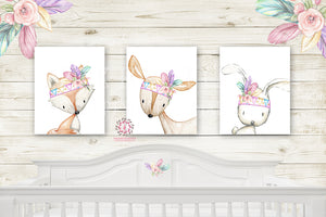 3 Deer Fox Bunny Rabbit Wall Art Print Nursery Pink Tribal Printable Woodland Boho Bohemian Floral Baby Girl Room Set Lot Prints Home Decor