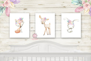 Bunny Rabbit Deer Fox Nursery Woodland Boho Wall Art Prints Bohemian Pink Purple Mint Feather Tribal Floral Girls Baby Kids Room Bedroom Decor Print Set Of 3