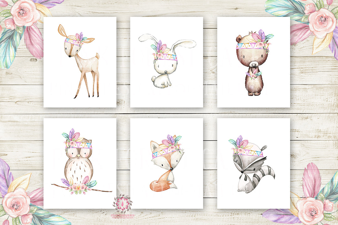 Boho Bunny Bear Deer Fox Nursery Wall Art Woodland Prints Pink Purple Mint Feather Bohemian Baby Room Raccoon Owl Home Decor Print Set Of 6