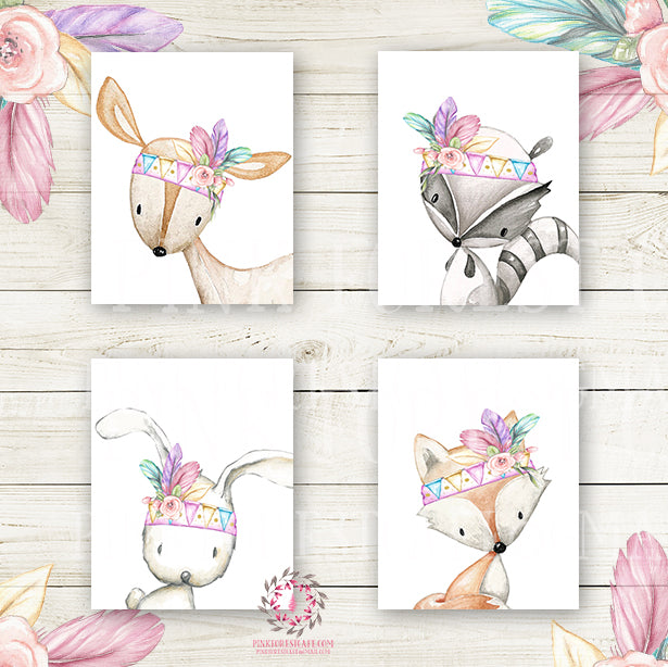 4 Deer Fox Bunny Raccoon Wall Art Print Nursery Rabbit Pink Purple Mint Tribal Printable Woodland Boho Bohemian Floral Baby Girl Room Set Lot Prints Home Decor