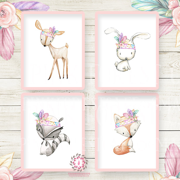 Bunny Rabbit Deer Fox Bear Nursery Wall Art Prints Woodland Boho Bohemian Floral Girls Baby Pink Purple Mint Kids Room Bedroom Decor Print Set Of 4