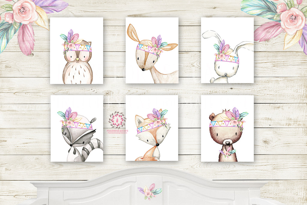 6 Deer Fox Bunny Wall Art Print Nursery Rainbow Feather Rabbit Bear Owl Raccoon Pink Purple Mint Tribal Printable Woodland Boho Bohemian Floral Baby Girl Room Set Lot Prints Printable Decor