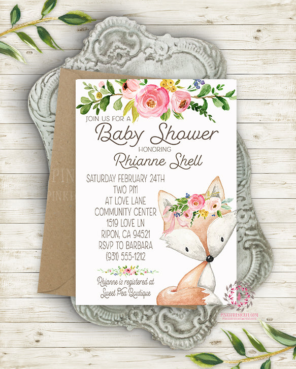 Woodland Fox Invite Invitation Baby Shower Boho Floral Watercolor Birth Announcement Printable
