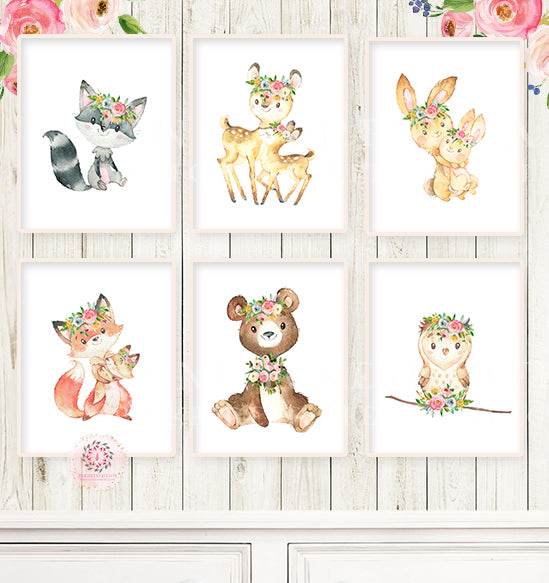 6 Boho Bear Deer Bunny Baby Girl Nursery Wall Art Printable Print Ethereal Watercolor Whimsical Owl Raccoon Fox Floral Woodland Animal Decor