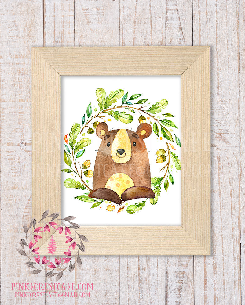 Bear Woodland Printable Print Wall Art Rustic Watercolor Baby Nursery Home Decor