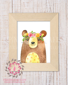 Boho Floral Bear Woodland Printable Print Wall Art Watercolor Baby Nursery Home Decor