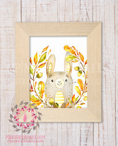 Bunny Rabbit Woodland Printable Print Wall Art Rustic Watercolor Baby Nursery Home Decor