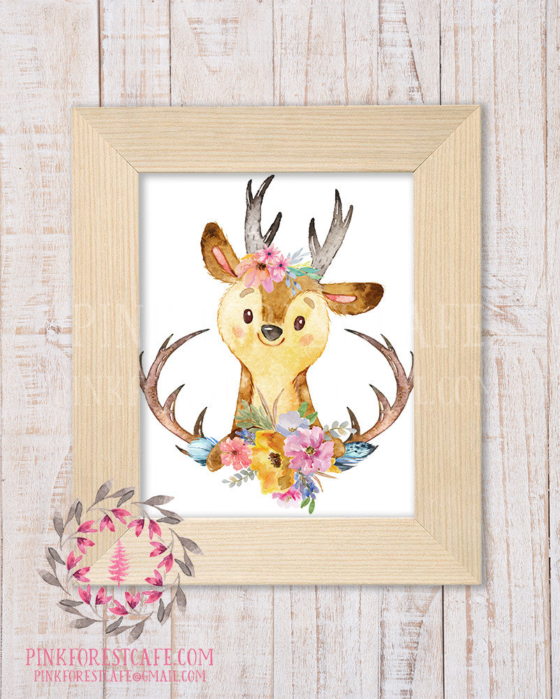 Boho Deer Antlers Woodland Printable Print Wall Art Rustic Watercolor Baby Nursery Home Decor