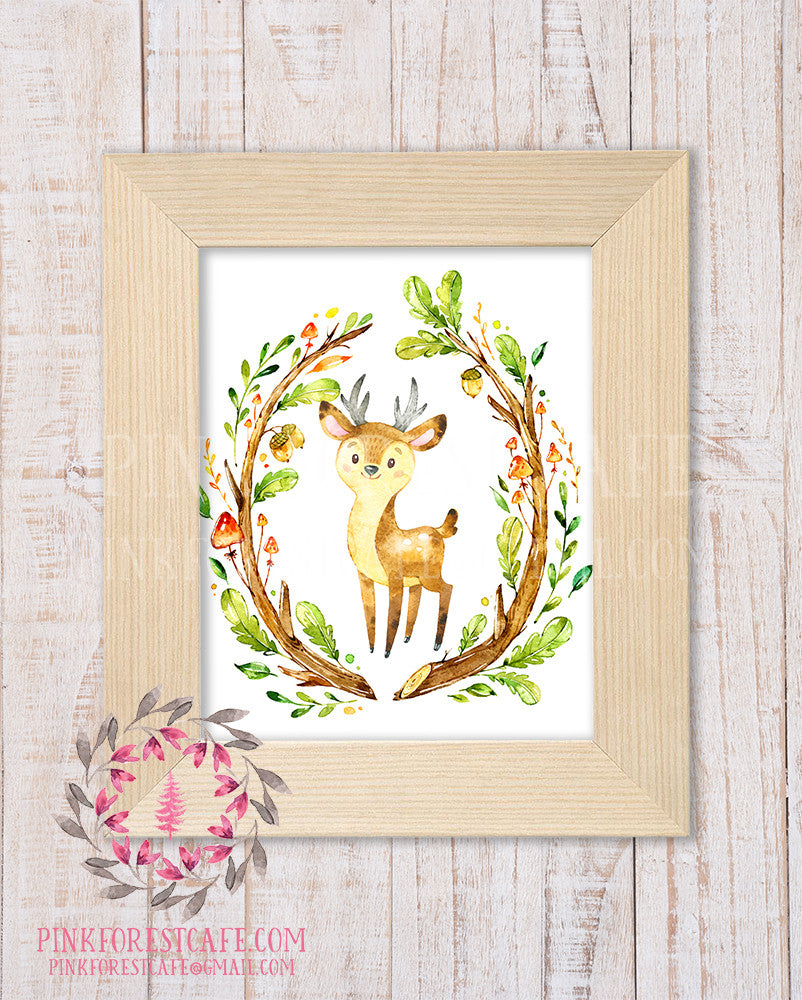 Deer Antlers Woodland Printable Print Wall Art Rustic Watercolor Baby Nursery Home Decor