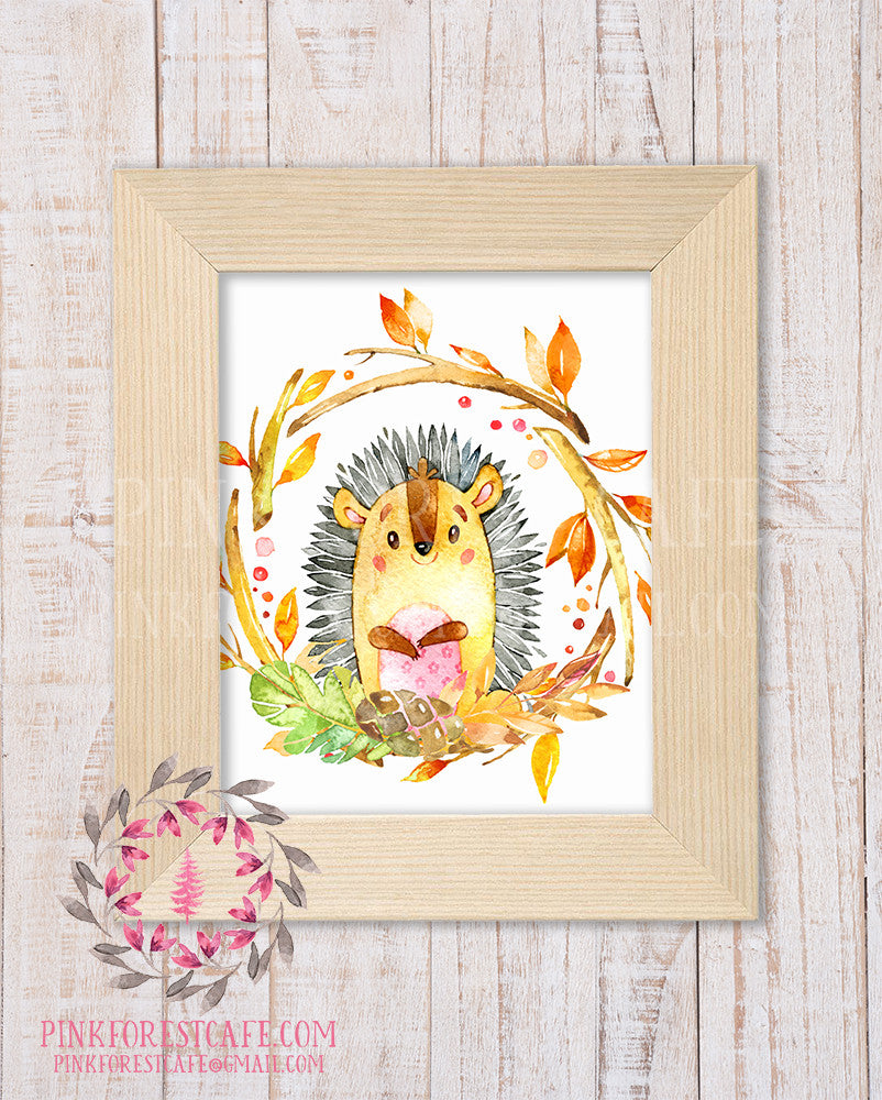 Hedgehog Woodland Printable Print Wall Art Rustic Watercolor Baby Nursery Home Decor