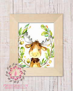 Moose Woodland Printable Print Wall Art Rustic Watercolor Baby Nursery Home Decor