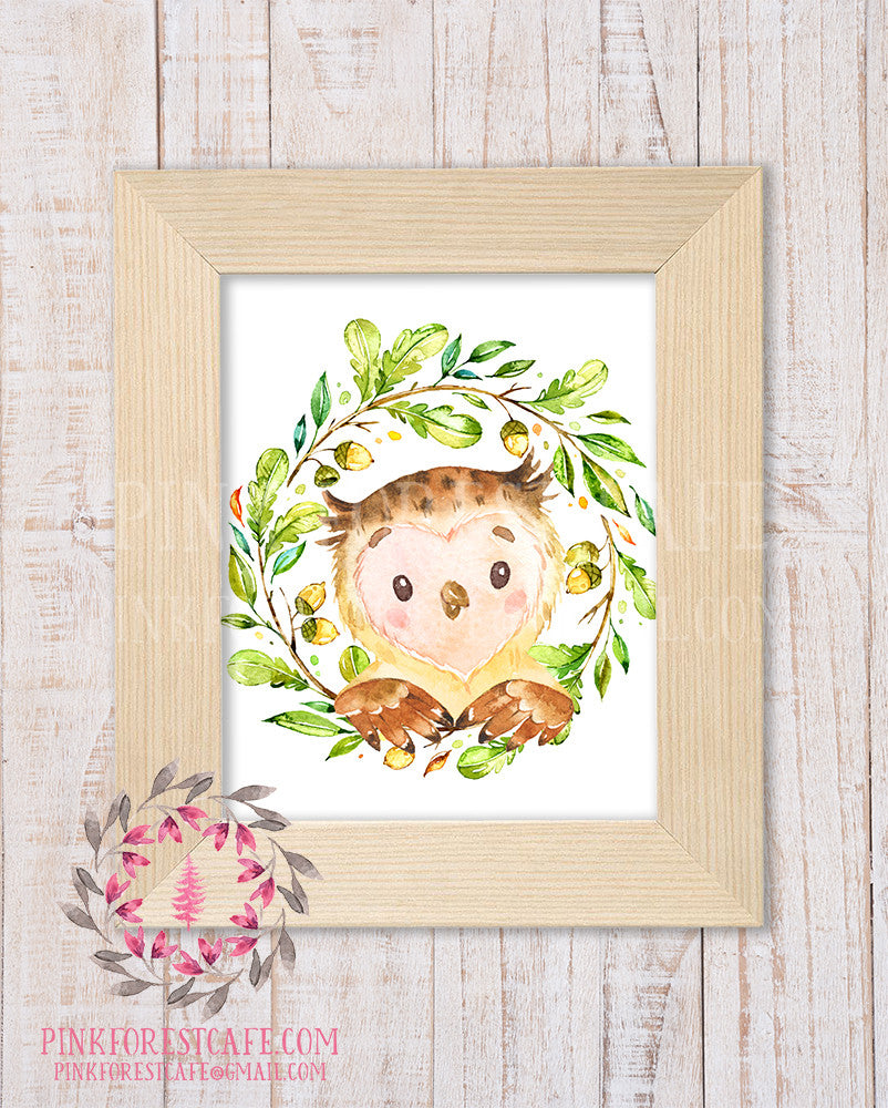 Owl Woodland Printable Print Wall Art Rustic Watercolor Baby Nursery Home Decor