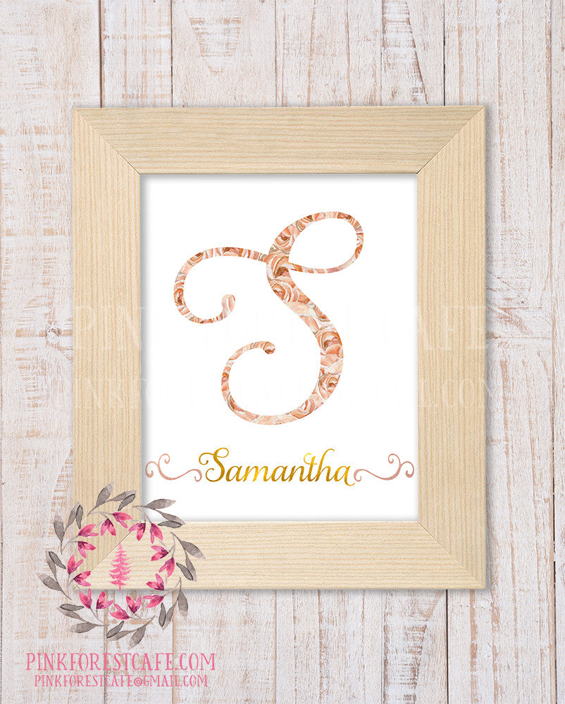 Baby Monogram Initial Personalized Watercolor Boho Floral Nursery Printable Wall Art