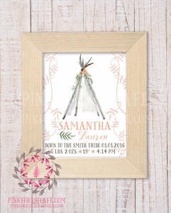 Boho Baby Birth Stats Announcement Teepee Tribal Woodland Nursery Room Printable Print Wall Art Decor