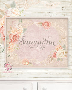 Ethereal Personalized Baby Name Boho Nursery Wall Art Print Pearl Lace Rose Shabby Chic Birthdate Bohemian Blush Room Kids Bedroom Home Limited Edition Decor