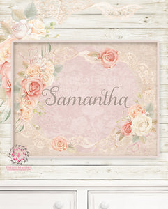 Ethereal Personalized Baby Name Boho Nursery Wall Art Print Pearl Lace Rose Shabby Chic Bohemian Blush Room Kids Bedroom Home Limited Edition Decor