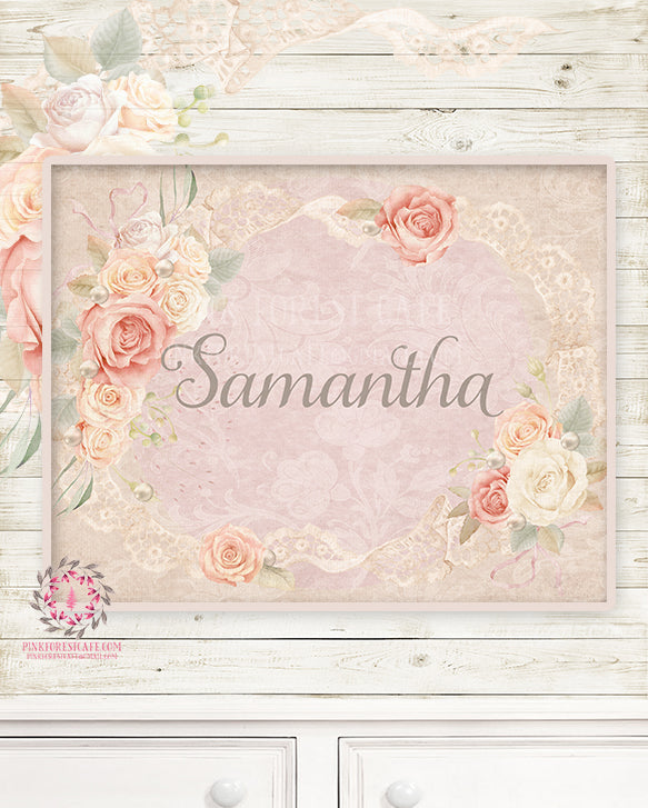 Ethereal Boho Shabby Chic Baby Name Wall Art Print Nursery Personalized Watercolor Floral Printable Decor