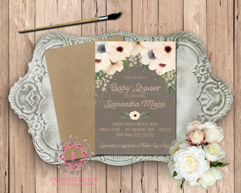 Anemone Blush Invite Invitation Baby Shower Gold Chalkboard Floral Watercolor Bridal Save The Date Wedding Announcement Printable