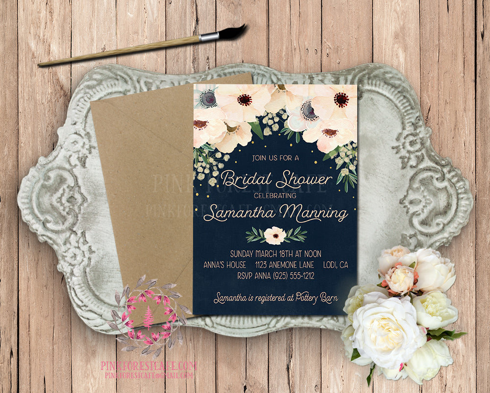 Anemone Navy Blush Gold Invite Invitation Bridal Baby Shower Gold Chalkboard Greenery Floral Watercolor Save The Date Wedding Announcement Printable