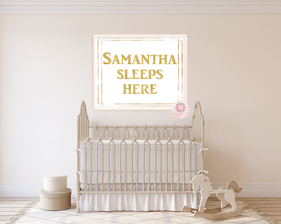 Baby Name - Sleeps Here - Gold Personalized Wall Art Print Nursery Printable Decor