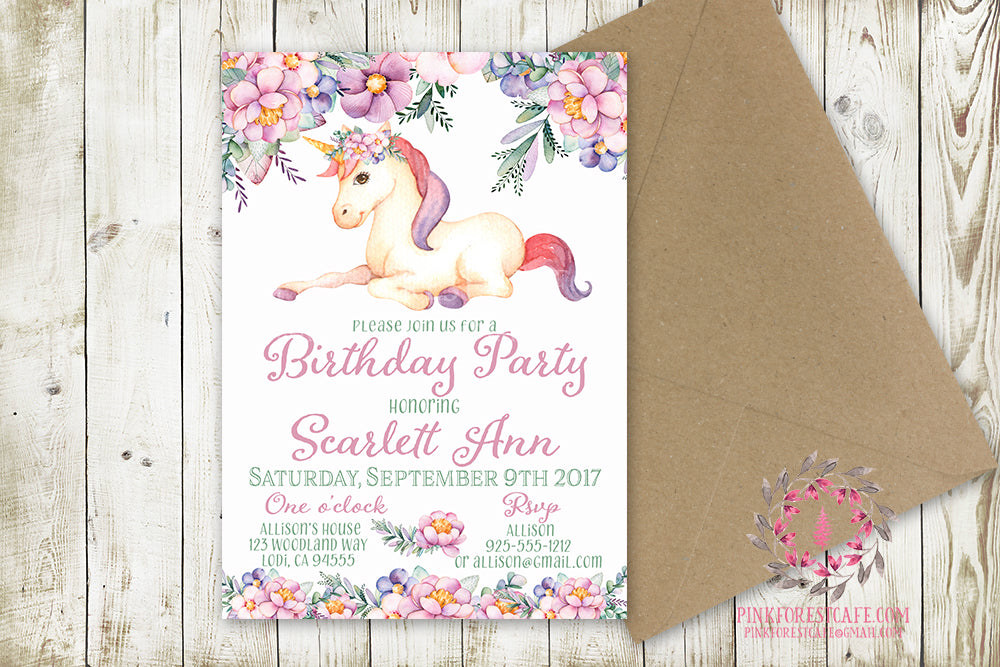 Girl Birthday Party Invite Invitation Unicorn Bridal Baby Shower Announcement Watercolor Floral Printable Art
