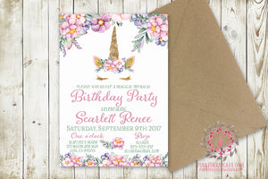 Girl Birthday Party Invite Invitation Unicorn Face Bridal Baby Shower Announcement Watercolor Floral Printable Art
