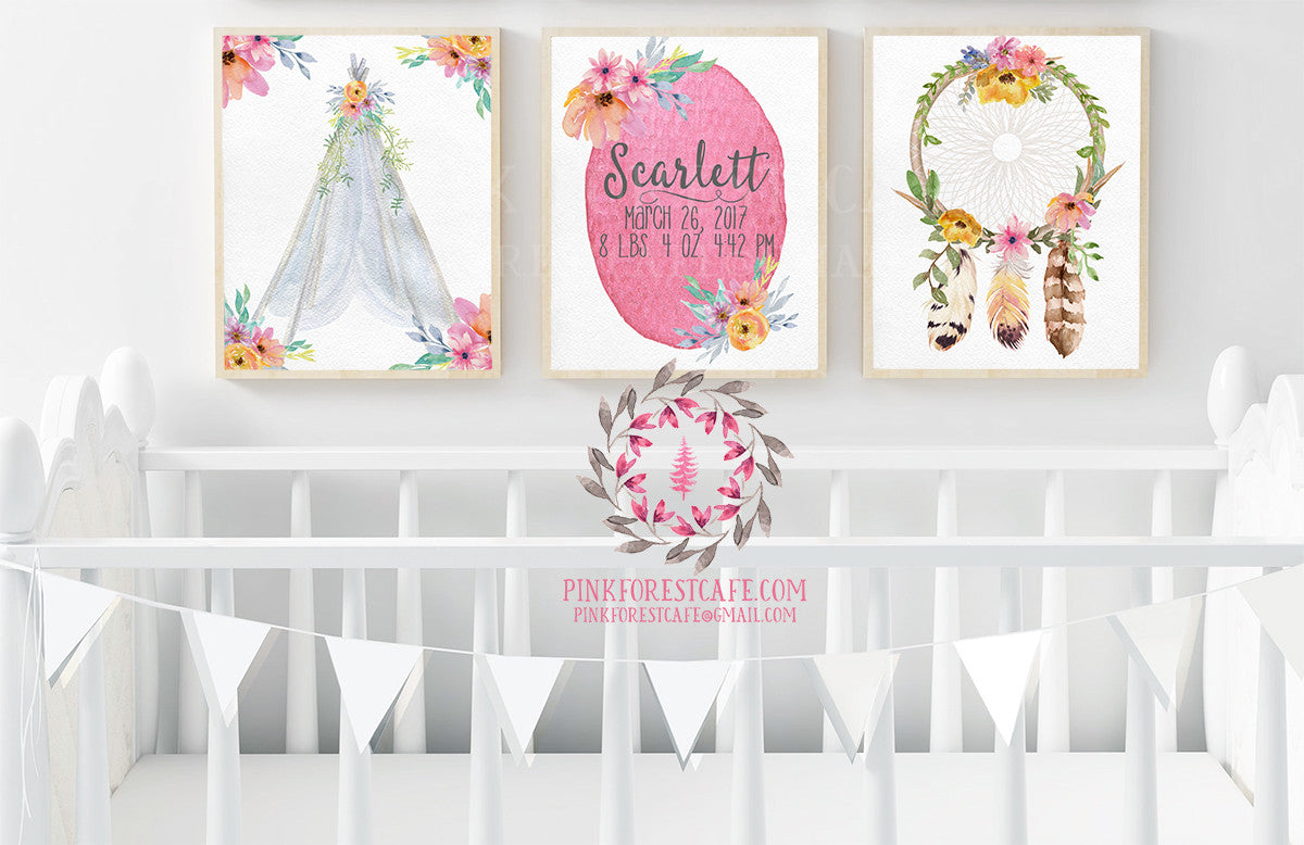 Set 3 Boho Birth Stats Announcement Teepee Dreamcatcher Watercolor Personalized Baby Printable Wall Art Nursery Decor Print