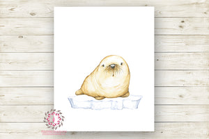 Seal Wall Art Print Baby Kids Nursery Zoo Animal Watercolor Poster Room Printable Decor