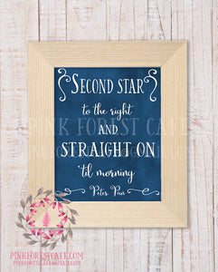 Second Star To The Right Straight On Til Morning Peter Pan Quote Printable Wall Art Baby Boy Nursery Home Decor