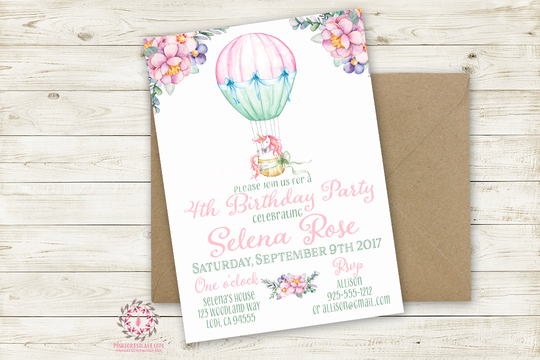 Birthday Party Invite Invitation Unicorn Hot Air Balloon Watercolor Floral Theme Printable